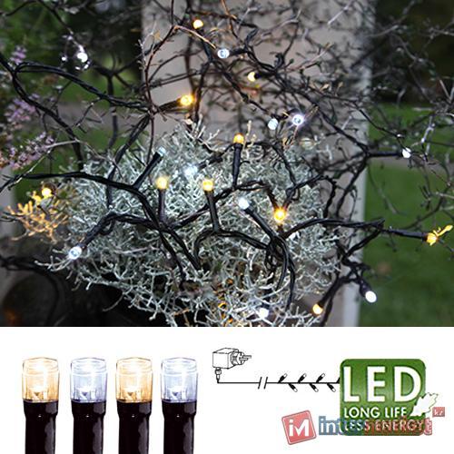 Гирлянда цепочка 16м -тепло/холоднобелая кабель черный 10м 160диодов LED outdoor